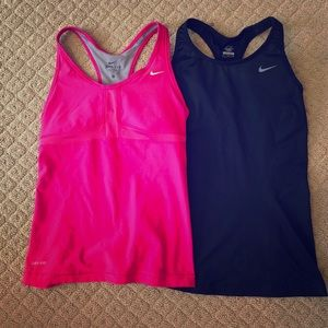 TWO Nike dry fit tops